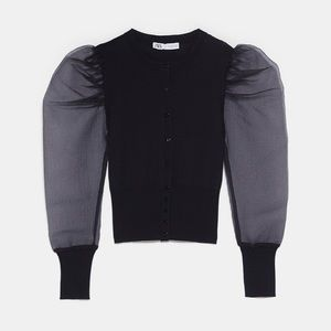 Zara organza sleeve knit jacket